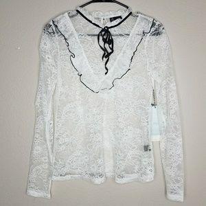 Iris Lovely White Lace Blouse Black Velvet Tie XS